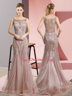 Sophisticated Sleeveless Beading Zipper Evening Dress