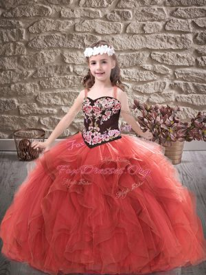 Red Ball Gowns Straps Sleeveless Tulle Floor Length Lace Up Embroidery and Ruffles Kids Formal Wear