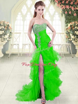 Trendy Lace Up Evening Dress Green for Prom and Party with Beading and Ruffled Layers Brush Train
