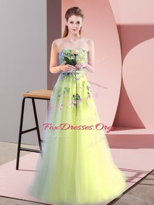 Yellow Green Sleeveless Tulle Lace Up Prom Gown for Prom and Party