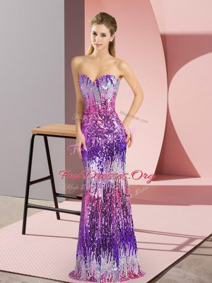 Sweetheart Sleeveless Lace Up Prom Evening Gown Eggplant Purple