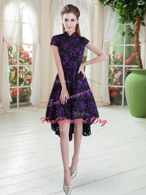 Sweet Short Sleeves Lace Up High Low Appliques Dress for Prom