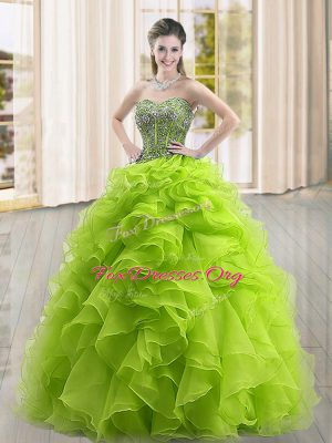 Floor Length Ball Gowns Sleeveless Yellow Green Quinceanera Gowns Lace Up