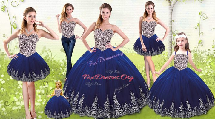 Low Price Tulle Sleeveless Floor Length Ball Gown Prom Dress and Beading and Appliques