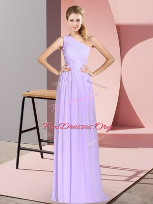 Hot Sale Floor Length Lace Up Evening Dress Lavender for Prom and Party with Ruching