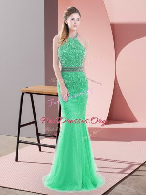 Halter Top Sleeveless Tulle Prom Dresses Beading Sweep Train Backless