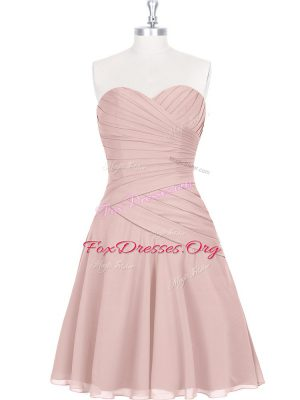 Stunning Pink Sleeveless Ruching and Pleated Mini Length Homecoming Dress