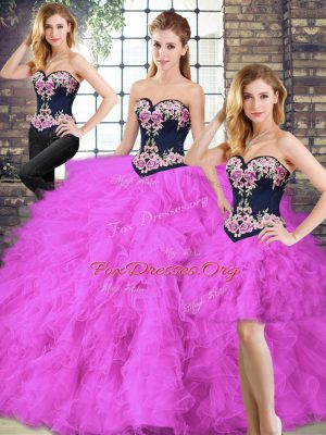 Floor Length Lace Up Quince Ball Gowns Fuchsia for Sweet 16 and Quinceanera with Beading and Embroidery