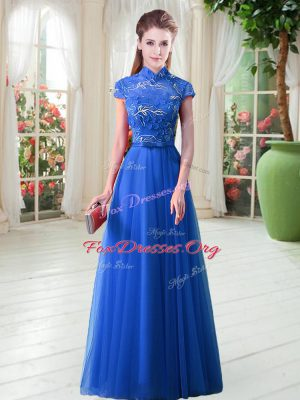 A-line Prom Dress Royal Blue High-neck Tulle Cap Sleeves Floor Length Lace Up