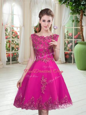 Lovely Sleeveless Knee Length Beading and Appliques Lace Up Homecoming Dress with Fuchsia