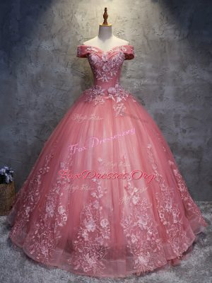 Popular Floor Length Ball Gowns Sleeveless Watermelon Red Quinceanera Gowns Lace Up