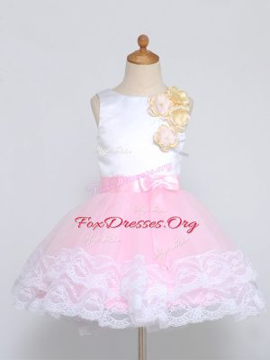 Pink And White Scoop Zipper Lace and Appliques Flower Girl Dress Sleeveless