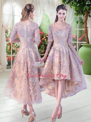 New Arrival Champagne A-line Scoop Half Sleeves Lace High Low Zipper Prom Dress