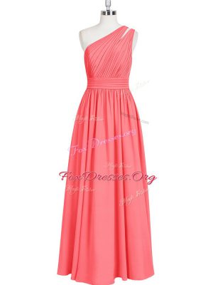 Latest Red Zipper One Shoulder Ruching Evening Dress Chiffon Sleeveless
