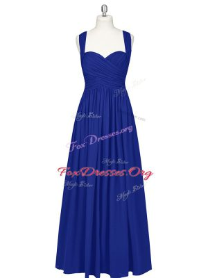 Royal Blue Sleeveless Chiffon Zipper Evening Wear for Prom and Party