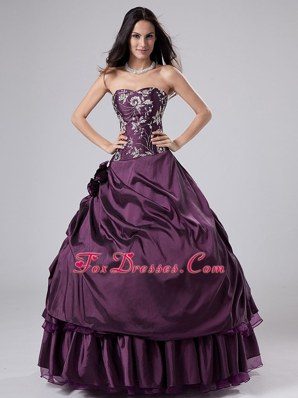 Strapless Embroidery Purple Taffeta Quinceanera Dress in 2014