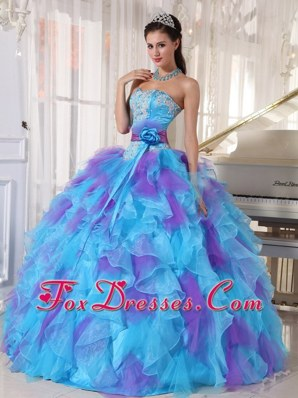 Baby Blue and Purple Strapless Appliques Quinceanera Dress