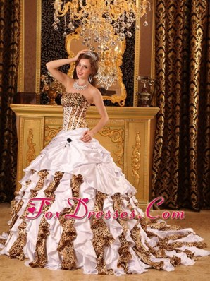 Brush Train White Zebra Print Quinceanera Dress with Ruffles
