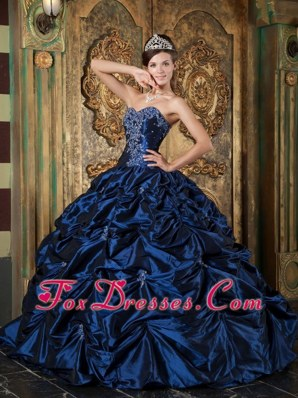 Navy Blue Sweetheart Quinceanera Dress with Picks-up