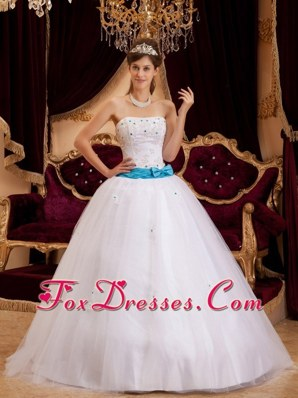 White Strapless Quinceanera Dress with Blue Sash
