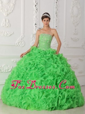 Ruffles Beading Strapless Organza Quinceanera Dress