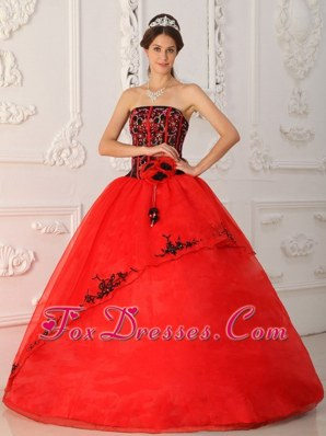 Hand Made Flowers Beading Red Quinceanera Dress