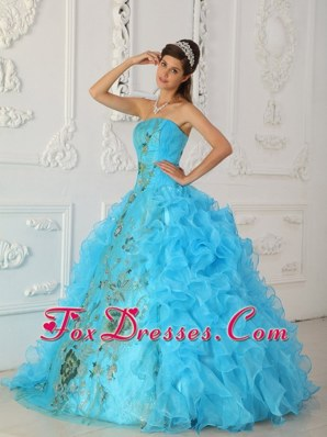 Popular Strapless Embroidery Aqua Blue sweet 16 dresses