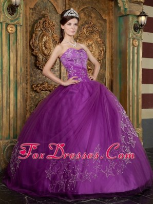 Sweetheart Star Appliques Tulle Purple Quinceanera Dress