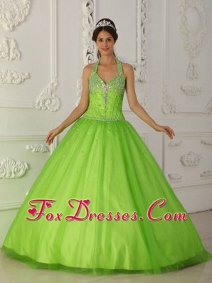 Halter Beading Tulle Green Quinceanera Dress