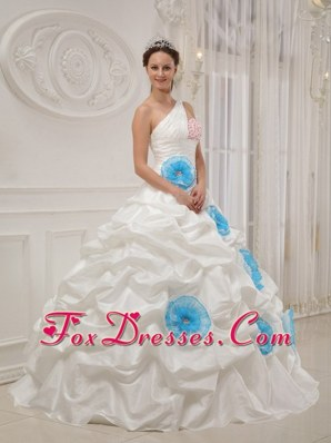 One Shoulder Beading and Hand Flowers Quinceanera Dress White