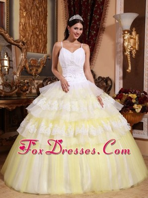 Yellow Lace Appliques Quinceanera Dress Spaghetti Straps