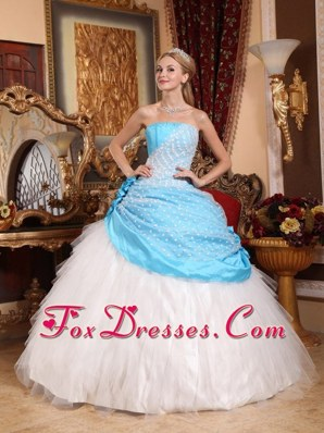 Strapless Hand Made Flowers Quinceanera Dress Blue and White