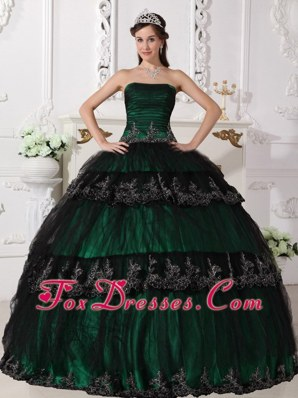 Strapless Taffeta and Tulle Quinceanera Dress Dark Green
