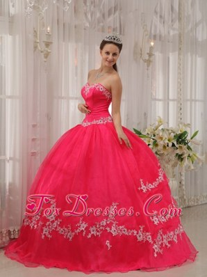 Sweetheart Appliques Coral Red Quinceanera Dress