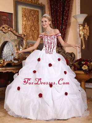 White Embroidery Quinceanera Dress Off the Shoulder