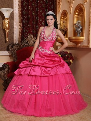 Hot Pink Quinceanera Dress Halter Taffeta Appliques