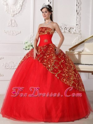 Strapless Tulle Red Beading Quinceanera Gown Ruched