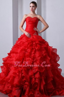 A-Line Ruffles Red Brush Organza Quinceanea Gown Beaded