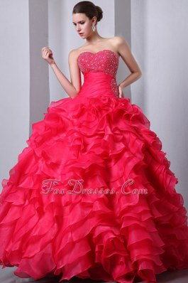 A-Line Sweetheart Beading Sweet 16 Dress Coral Red Ruffled