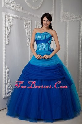 Sweetheart Tulle Ruch 2013 Quinceanea Dress Blue Layered