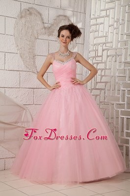 Tulle Beading Pink Quinceanea Gown with Straps Designers
