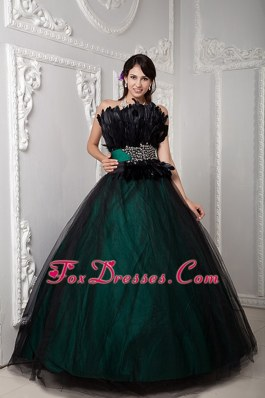 Feather Black and Green Tulle Beading Quinceanera Dress
