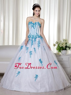 Organza Appliques Quinceanera Dress White Sweetheart