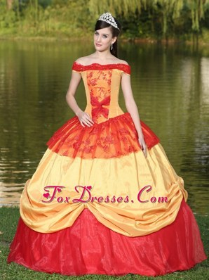 Off The Shoulder Colorful Appliques For Quinceanera Dress