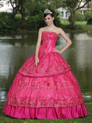 Hand Made Flowers Beading 2013 Quinceanera Dress Taffeta