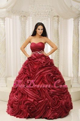 Rose Pattern Wine Red handle Flower 2013 Quinceanera Dress