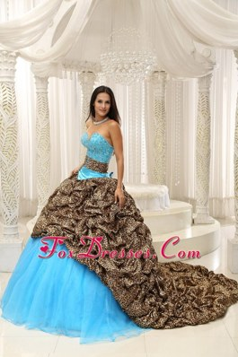 Quinceanera Dress Leopard and Organza Sweetheart sash 2013
