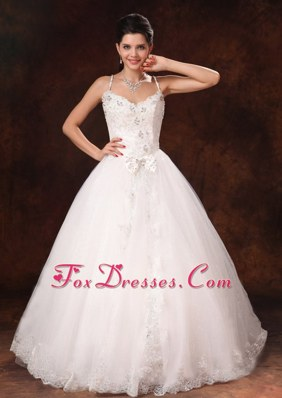 Lace Tulle Spaghetti Straps Beaded Bowknot Wedding Dress