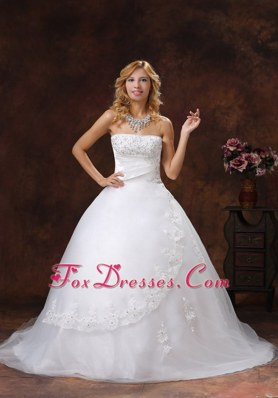 Appliques and Beading Wedding Dress For 2013 Strapless Chapel