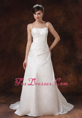 Spaghetti Strap Brush Taffeta A-Line Wedding Dress Ruched